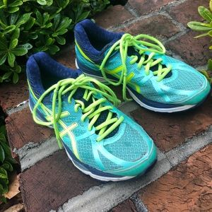Asics teal and navy Gel-Cumulus 17 running shoes 8